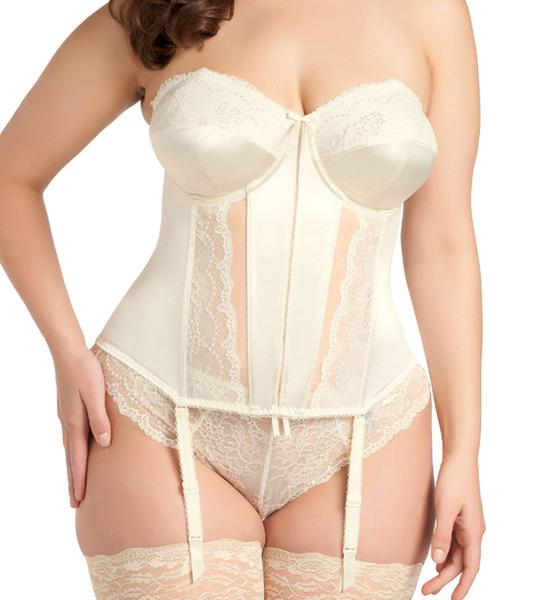 de2efcd24 Basque Corset by Elomi Cup Size  D-HH Band Size  34-44. Colors  Ivory Black